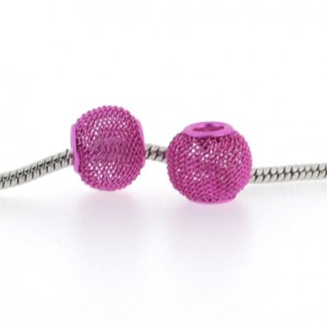 Métal maille rose style Pandora - à l'unité