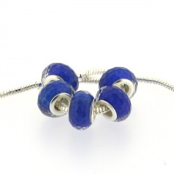 Perle en résine à facettes bleues brillantes style Pandora - à l'unité
