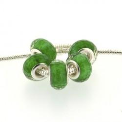 Perle en résine à facettes vertes brillantes style Pandora - à l'unité
