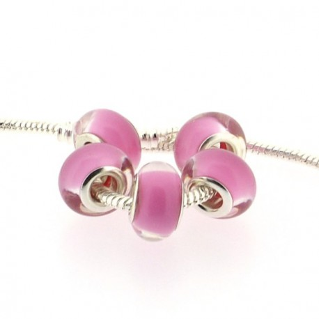 Perle en résine fuchsia pastel style Pandora - à l'unité