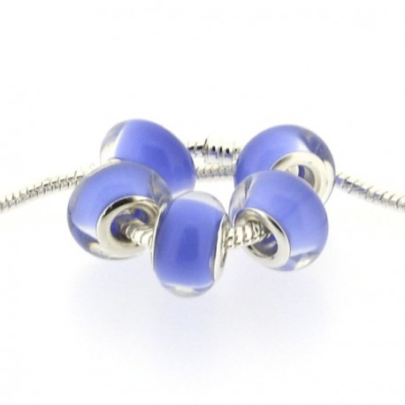 Perle en résine bleu pastel style Pandora - à l'unité