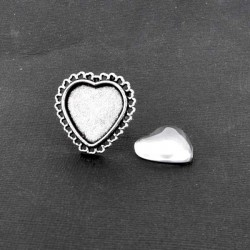Bague Coeur, argenté avec cabochon