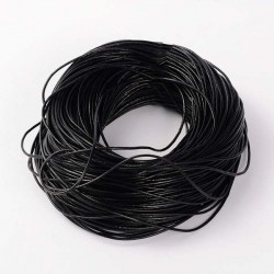 Cordon en cuir, noir 2 mm ø - au mètre