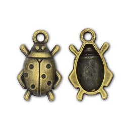 Pendentif breloque en métal Coccinelle, bronze