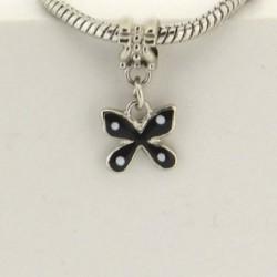 Métal pendentif Papillon émail noir style Pandora - à l'unité