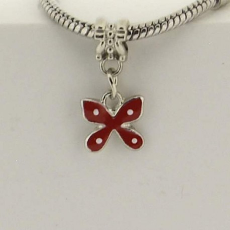 Métal pendentif Papillon émail rouge style Pandora - à l'unité