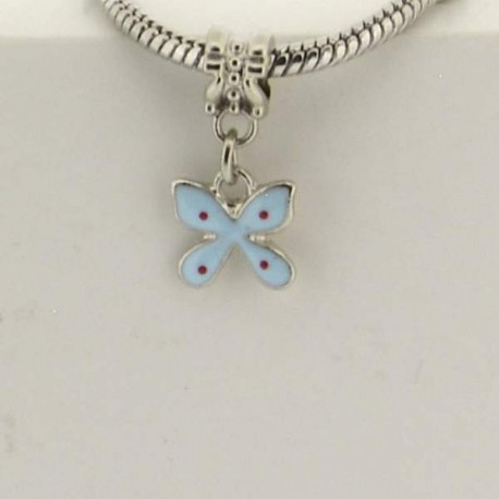 Métal pendentif Papillon émail turquoise style Pandora - à l'unité