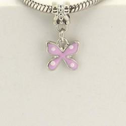 Métal pendentif Papillon émail rose style Pandora - à l'unité