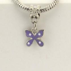 Métal pendentif Papillon émail mauve style Pandora - à l'unité