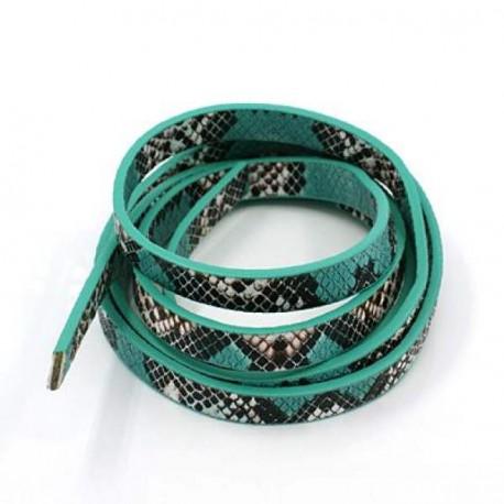 Cordon en simili cuir, imitation peau de serpent turquoise