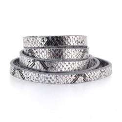 Cordon en simili cuir, imitation peau de serpent argenté