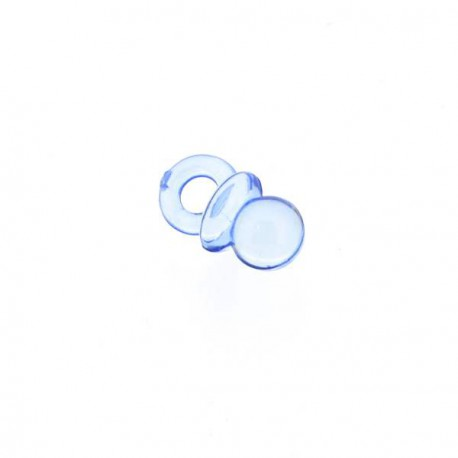 Breloque en plastique transparent Tétine bleue