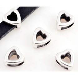 Perle coulissante de métal Coeur