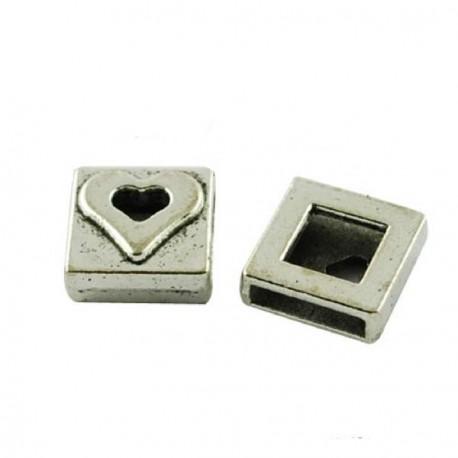 Perle coulissante de métal Coeur plat