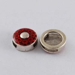 Perle coulissante de métal Rond émail rouge