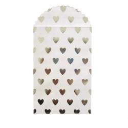 6 sacs en papier coeurs argentés 10 x 21 cm