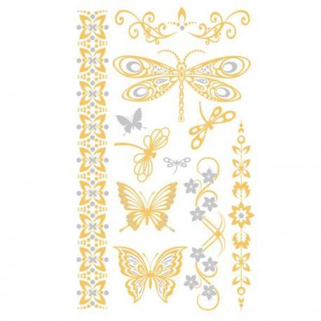 Exemple 1 Tatouage temporaire Tattoo Chic - Papillons dorés