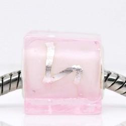 Perle de verre carrée rose style Pandora - à l'unité