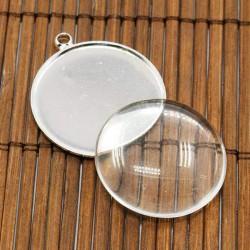 Pendentif plateau 25 mm, argenté avec cabochon