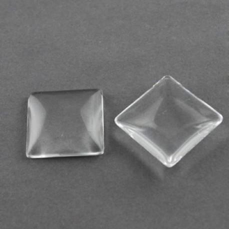 Cabochon carré 25 mm en verre