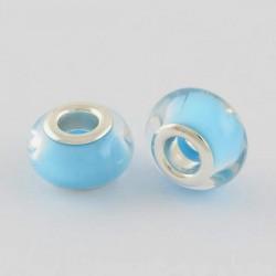 Perle en résine bleu turquoise pastel style Pandora - à l'unité