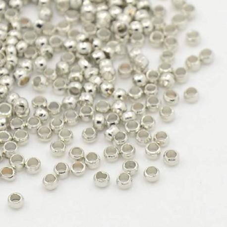 Perles à écraser 2 mm, argentées - 320 pièces