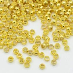 Perles à écraser 2 mm, dorées - 1000 pièces