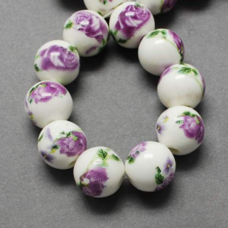 Perle de verre porcelaine Orchidée, 10 mm