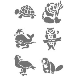 Pochoir plastique Les animaux protégés