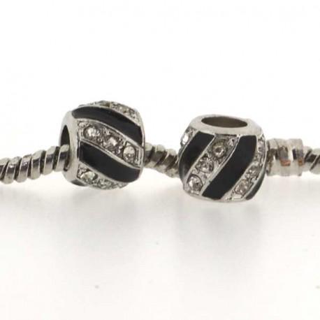 Métal Torsade noir strass blanc style Pandora - à l'unité