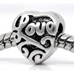 Métal Coeur Love argenté style Pandora - à l'unité