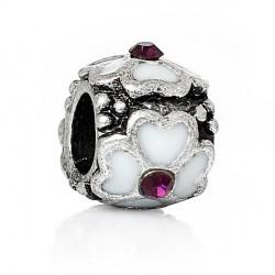 Métal Fleur émail blanc strass violet style Pandora - à l'unité