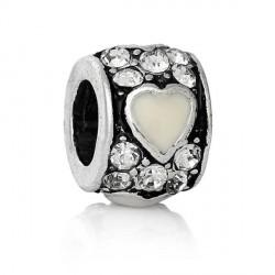 Métal petit Coeur strass et émail blanc style Pandora - à l'unité
