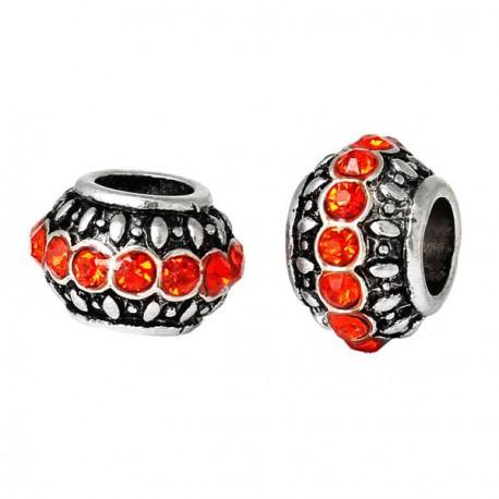 Métal Anneau griffe strass orange style Pandora - à l'unité