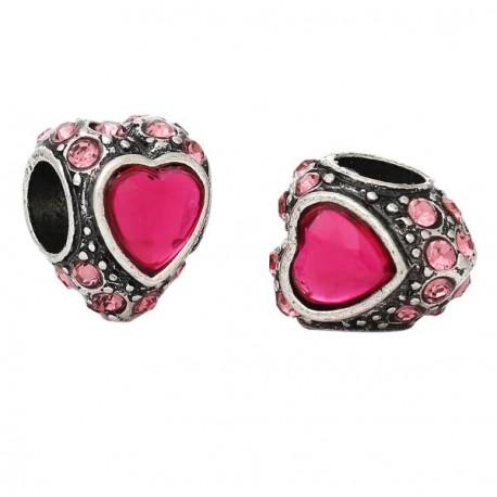 Métal Coeur gros strass fuchsia style Pandora - à l'unité