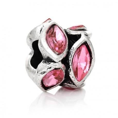 Métal anneau bicolore strass rose style Pandora - à l'unité