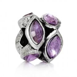 Métal anneau bicolore strass mauve style Pandora - à l'unité