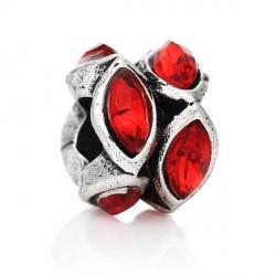 Métal anneau bicolore strass rouge style Pandora - à l'unité