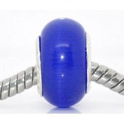 Perle de verre oeil de chat bleu foncé style Pandora - à l'unité