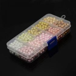 Boîte 600 Perles de verre rondes nacrées 6 mm