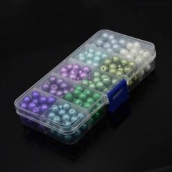 Boîte 250 Perles de verre rondes nacrées 8 mm - vertes, violettes