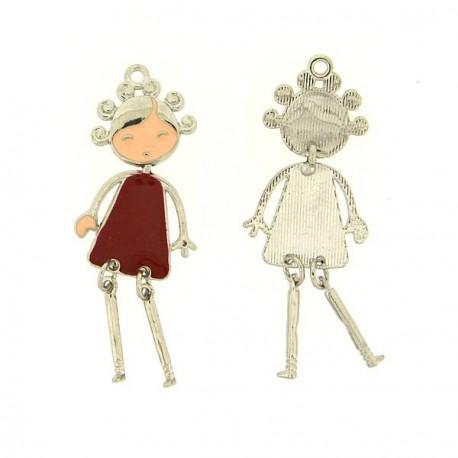 Pendentif breloque Jeune Fille en robe rouge, argenté