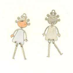 Pendentif breloque Jeune Fille en robe blanche, argenté
