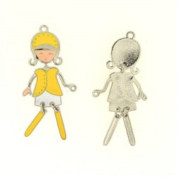 Pendentif breloque Jeune Fille avec tailleur jaune, argenté