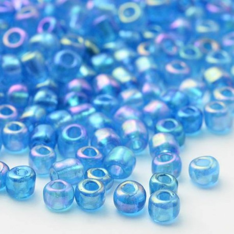 Sachet 50 gr perles de rocaille transparentes irisées orange - 4 mm
