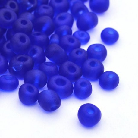 Sachet 50 gr perles de rocaille transparentes givrées bleu foncé - 4 mm
