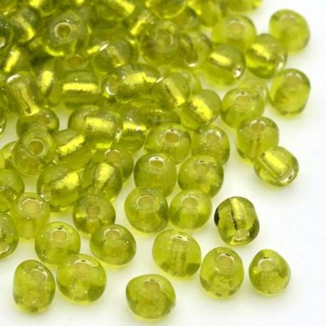 Sachet 50 gr perles de rocaille transparentes vertes avec liseré - 4 mm