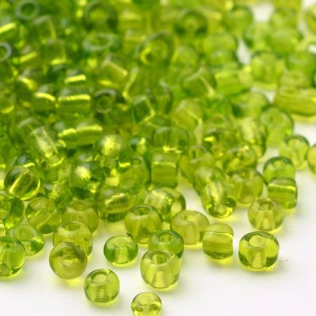 Sachet 50 gr perles de rocaille vert clair transparentes - 2 mm
