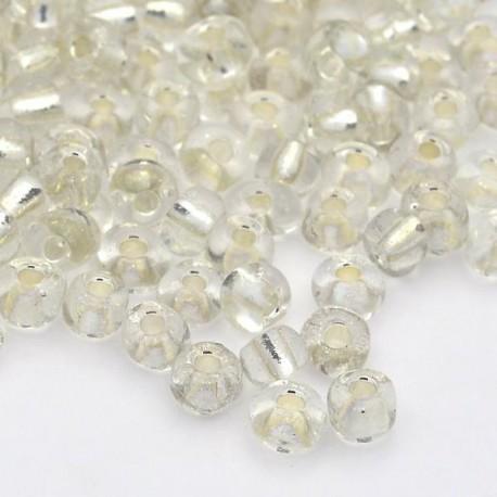 Sachet 50 gr perles de rocaille blanc transparentes avec liseré - 2 mm