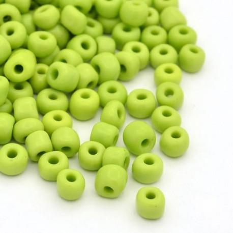 Sachet 50 gr perles de rocaille vert opaques - 3 mm